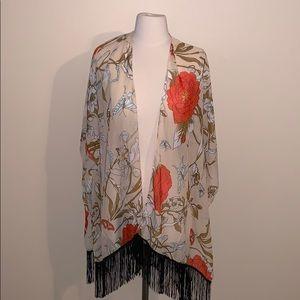Other - Butterfly & Flower Print Fringe Kimono